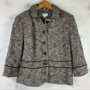 Ann Taylor LOFT Blazer Brown White Tweed Crop 14P